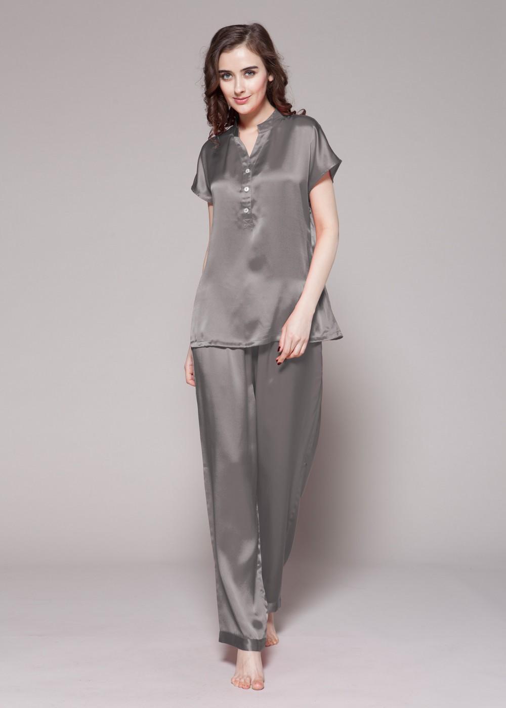 7d74efe7928 Dark Grey Half Buttoned Front Silk Pajamas Set For Women.RID-528