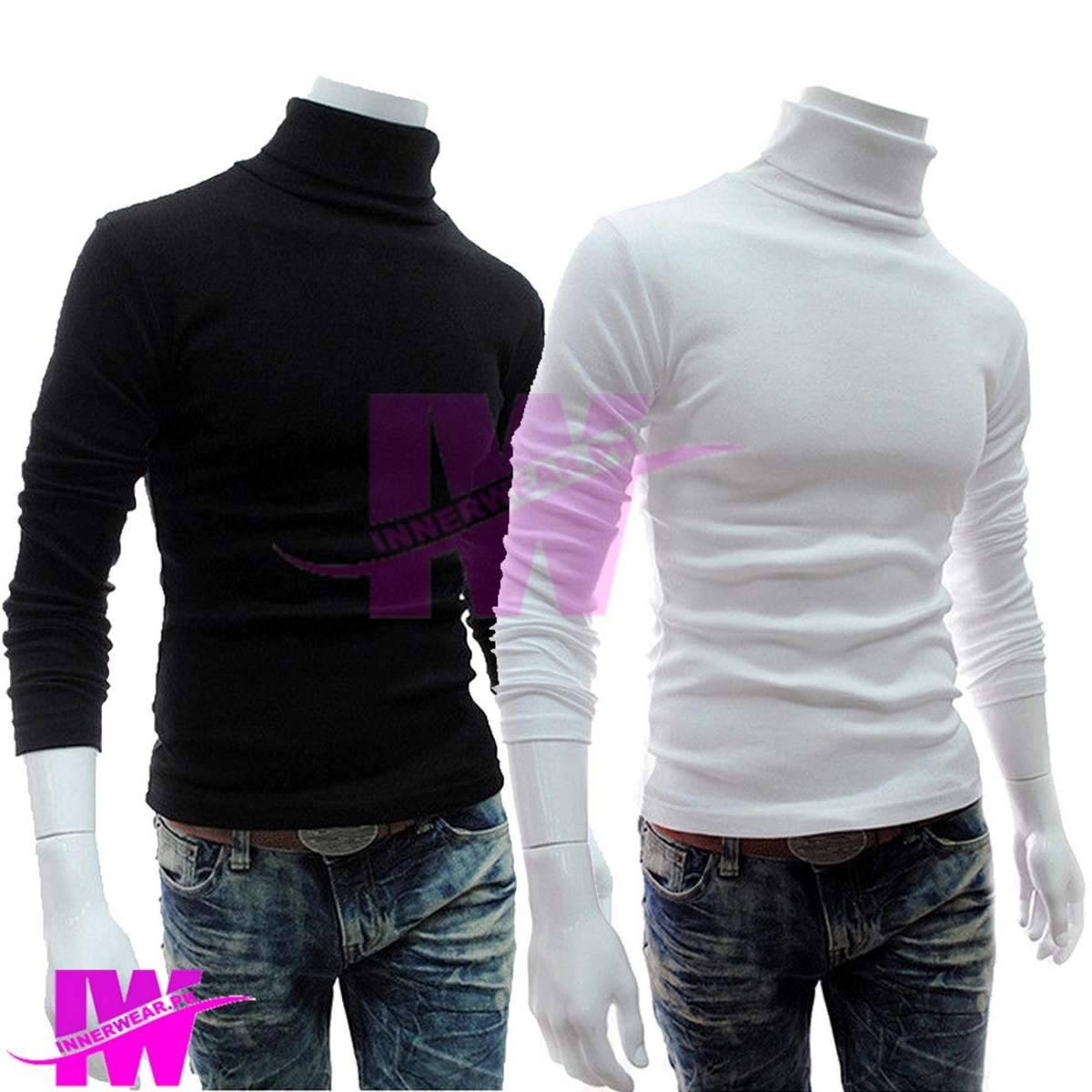 Pack of 2 Men Premium High Neck White and Black Full Sleeve Pullover Stretchable Ribbed Cotton & Lycra T-Shirt Turtleneck Tops Sweatshirt Winter Warm Free Size Every Fitter Special offer InnerWear pk