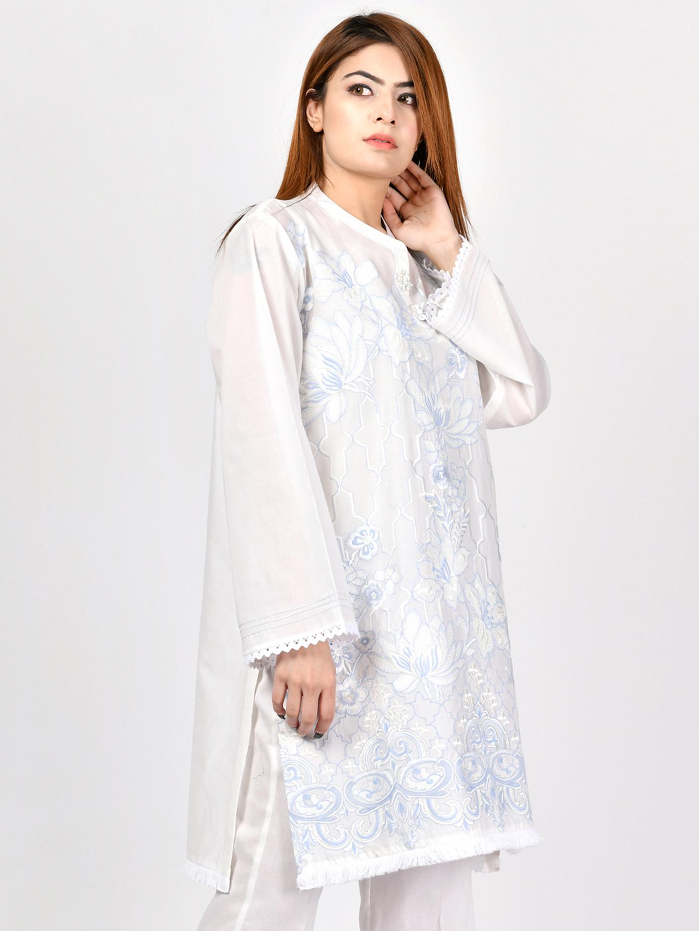 LimeLight Stitched White  1 Pcs Embroidered Lawn Shirt For Women P2077-SLL-WHT
