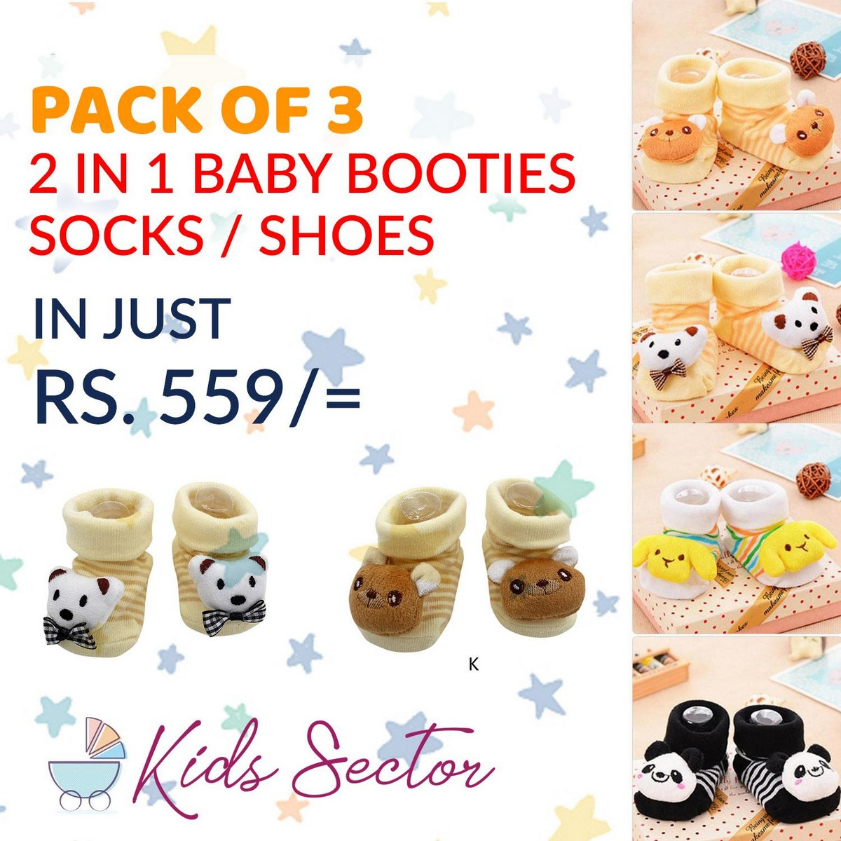 Pack of 3 - High Quality 2 in 1 Baby Socks Shoes - Kids Toddlers Booties 0 - 12 month