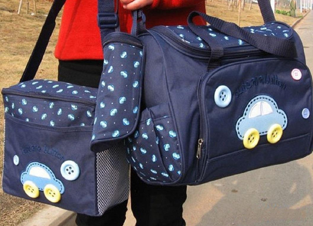 Navy Blue - 4 Pcs Baby Diaper Bag Multi Functional Large Capacity