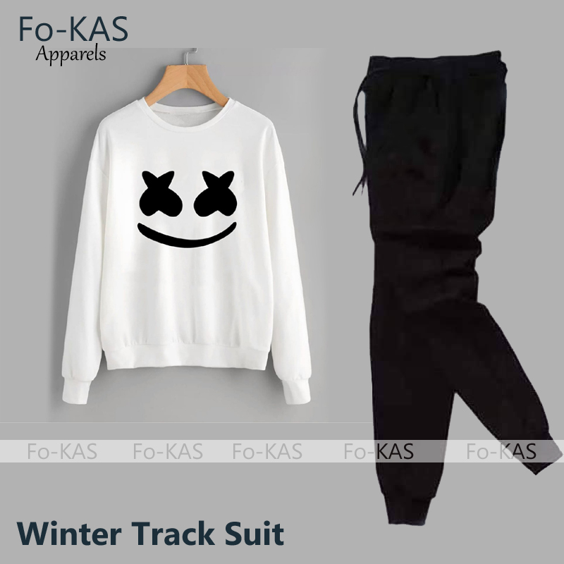 Marshmallow Printed Winter Tracksuit SweatShirt & Trouser  For Boys_&_Girls Trendy Fashion Wear Jogging/Gym/Sports/Party Wear Track Suit