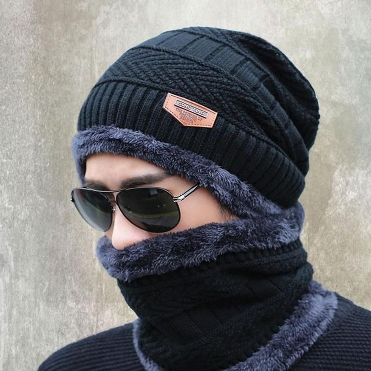 Winter Beanie Hat Cap Neck Warmer Scarf Set Fleece Lined Skull Cap and Scarf Unisex Hat & Scarf Set Stylish Knit Skull Cap for Men Women