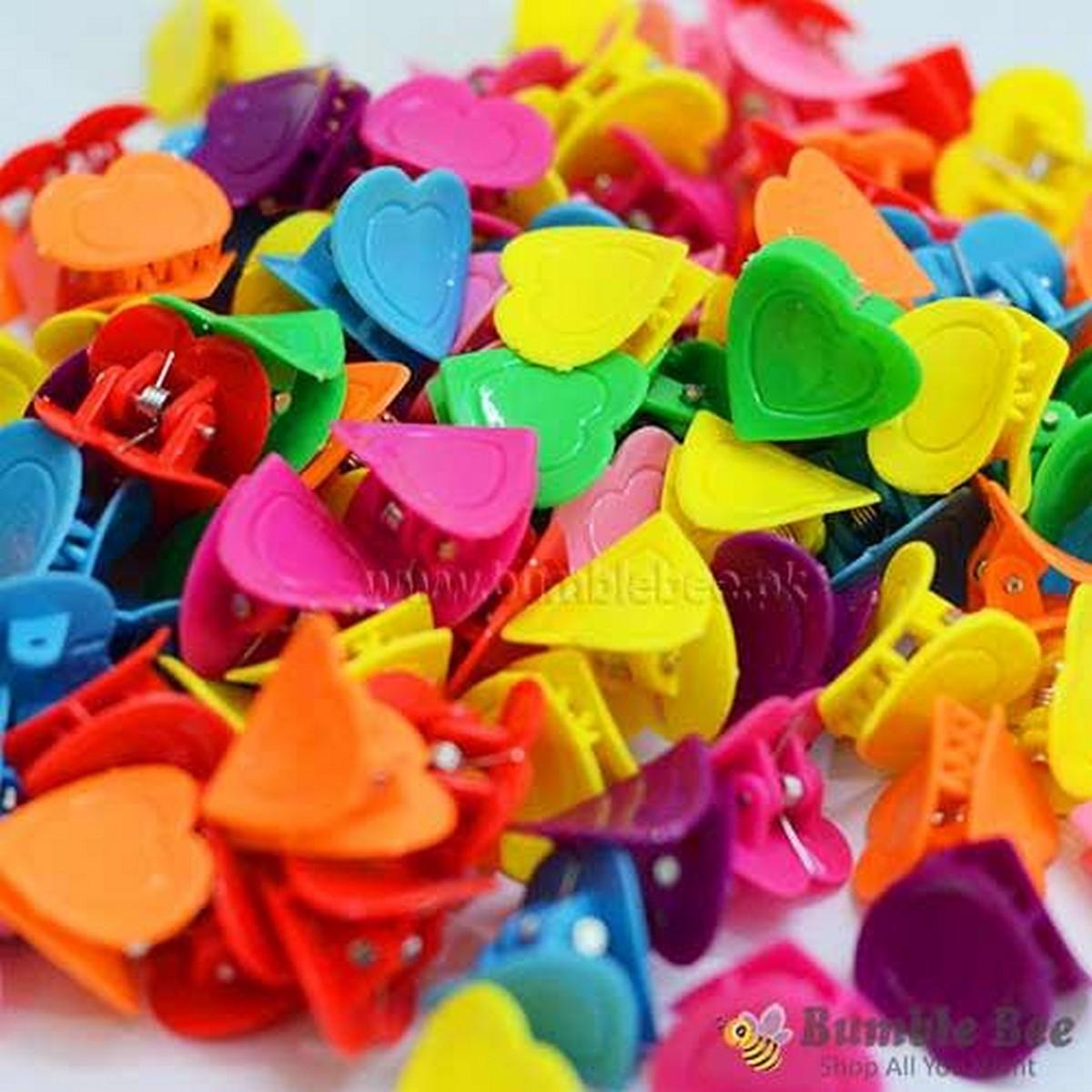Hair Clips for Girls (kids) Heart Shape Clips Beautiful (pack of 10 Clips) (Heart Shape Hair Clips) (Hair Pins)