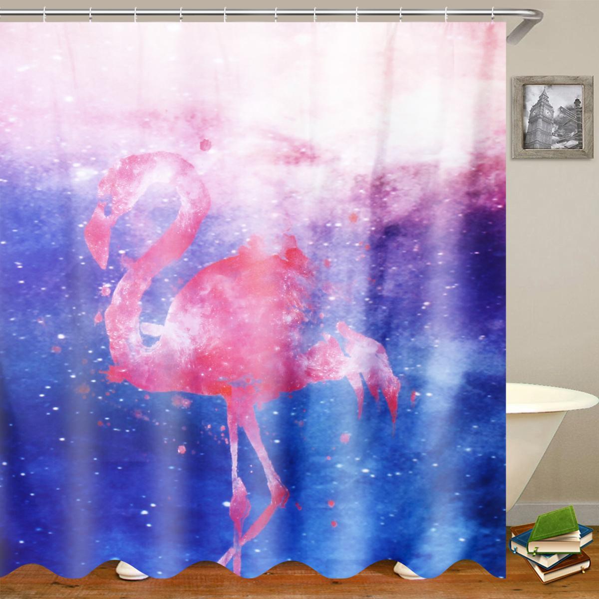 Anti Slip Bird Shower Curtain Set Free Punched Bathroom Door Curtain