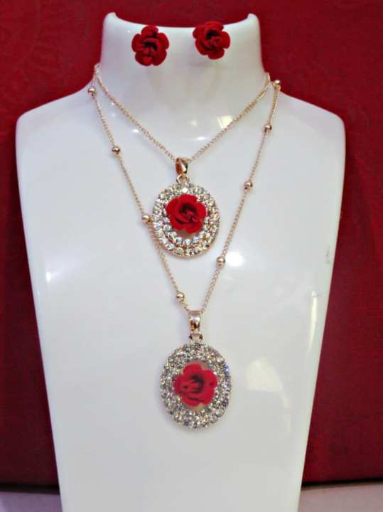 Red Rose Necklace And Earring N-02