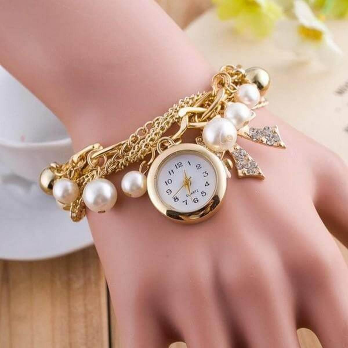 Golden Watch Pearls Bracelet Watch For Girls - Golden Chain Ladies Bracelate Watch for Women