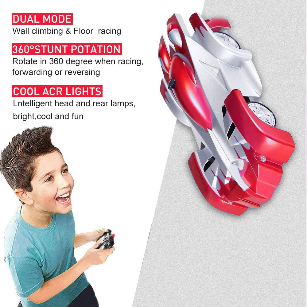 """remote control wall climbing car! This climbing car is a full function car that climbs walls as if they are horizontal like floor! An on board fan creates vacuum between the car and the surface,   allowing it to """"stick"""" on the surface and against gravity"""