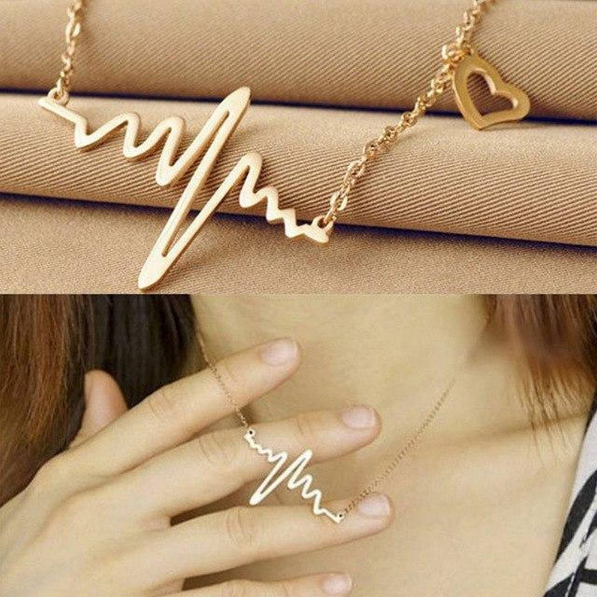 Gold Color Ecg Heart Shaped Necklace Chain For Women