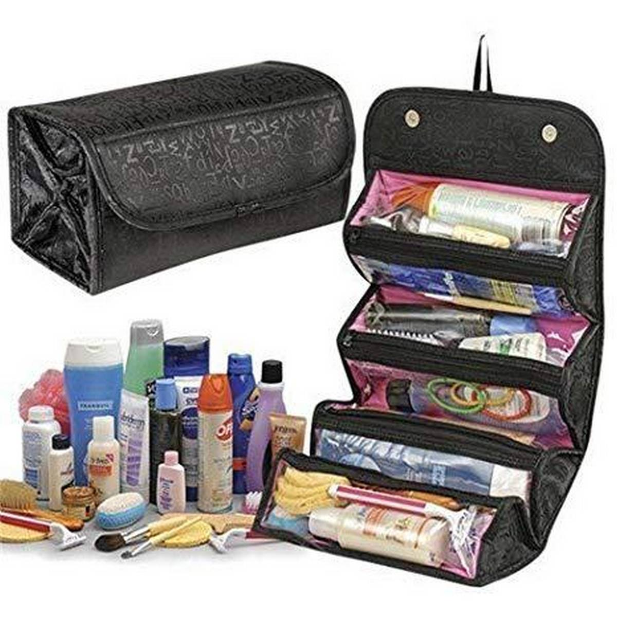 4-Layer Roll-up Travel Cosmetic Makeup Storage Bag Hanging Toiletry Organizer Foldable Large Capacity Bathroom Wash Bag In Bag Women Portable Bath Shower Case Holder Pouch with Hanging Loop