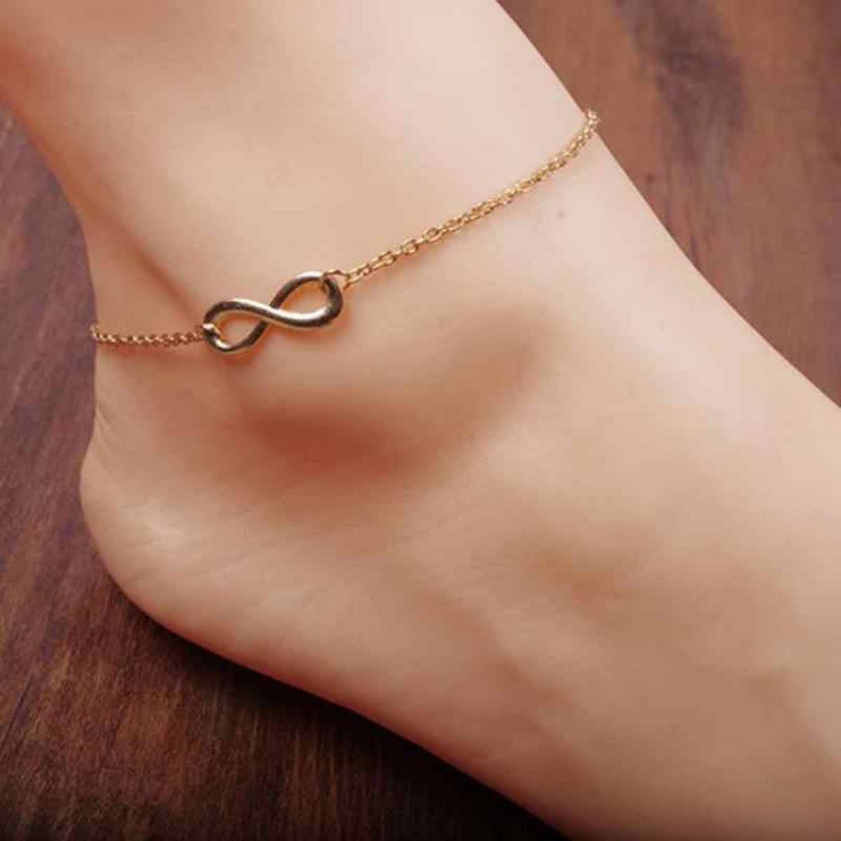 Stylish Gold Infinity Charm Beach Anklet For Girls & Womens