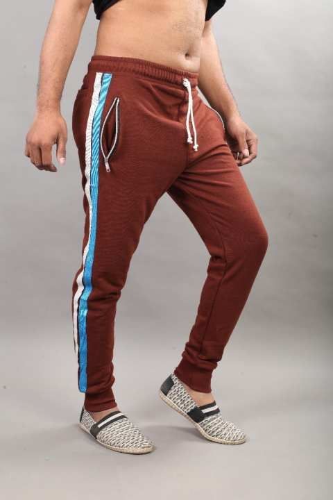 Brown Cotton Side Stripe Casual Zipper Trouser For Men