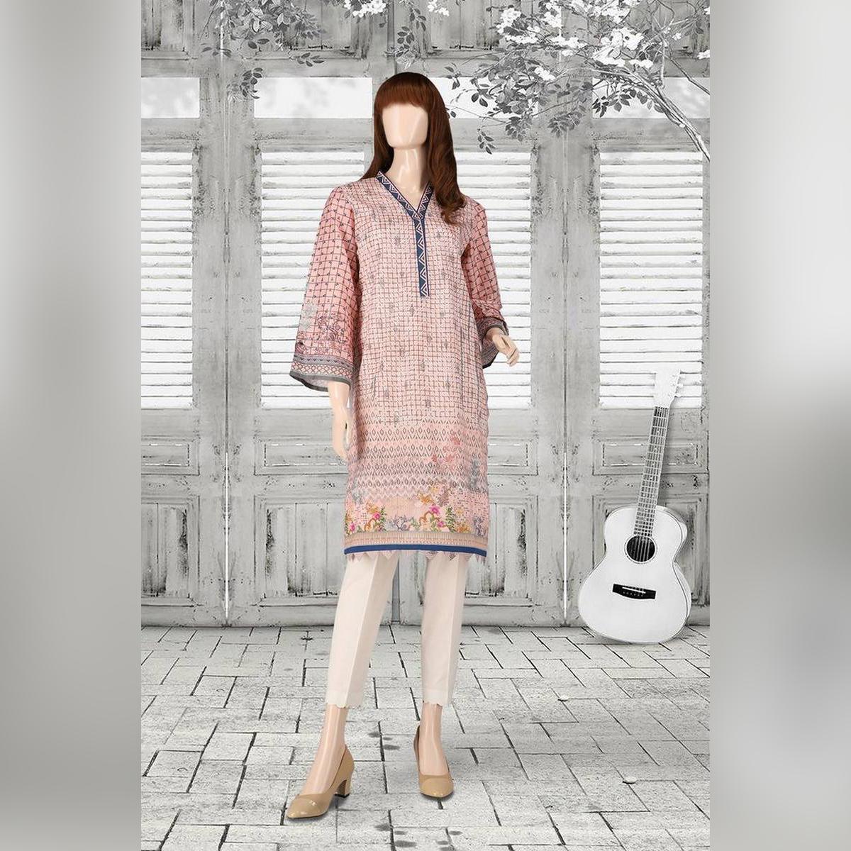 SAYA Pink Unstitch Printed Spring Summer 2021 Lawn Shirt for Women-FIZA UP-2112-03A (SHIRT)
