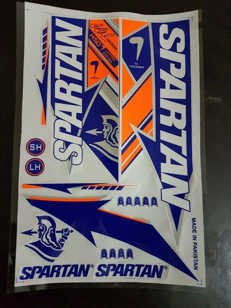 [2d] Spartan MSD  Cricket Bat Stickers [2D] normal quality  bat sticker poduct is same as shown in pictures