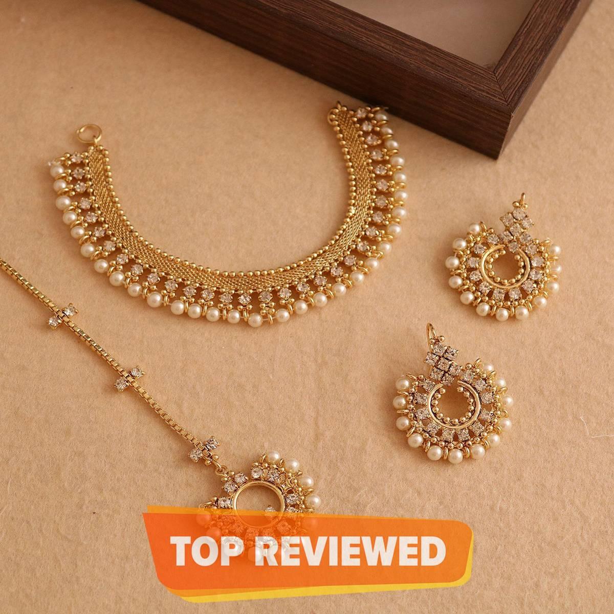 Hue's, Women-Girl - Necklace Set with Earring & Teeka with Pearl & Zircon Studded