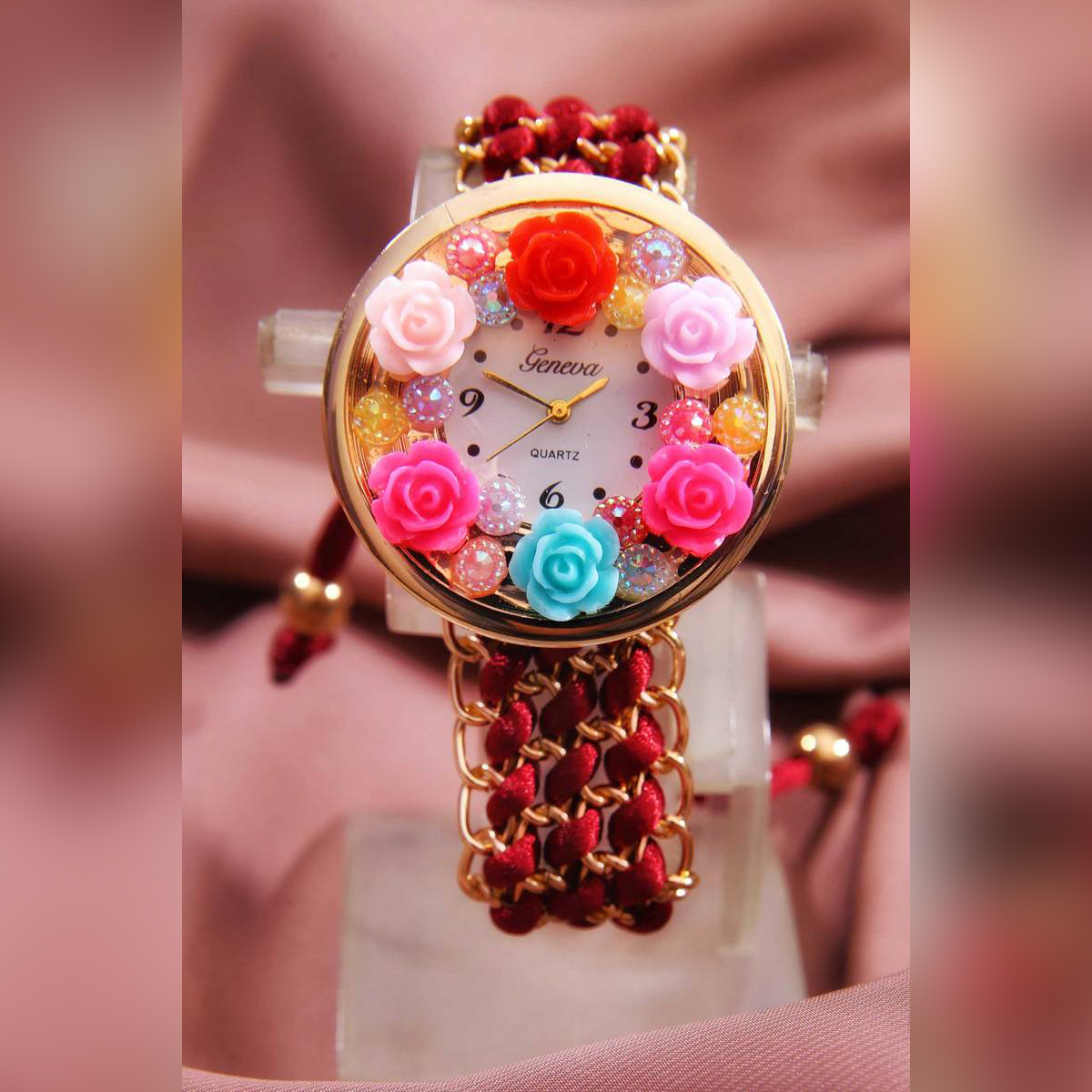 Bracelet Watch for Girls   With BOX, Handmade, Latest & Stylish   New Fashion, Beautiful & Fancy Cute Watch for Girls/Women/Ladies   Dori Fashion Design Watch with High Quality   Red – Black – Pink - 2020