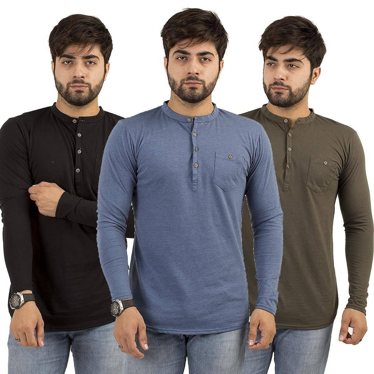 Pz Full Sleeves Kurti Plain Pocket Multicolor Pack Of 3 Tshirt For Men