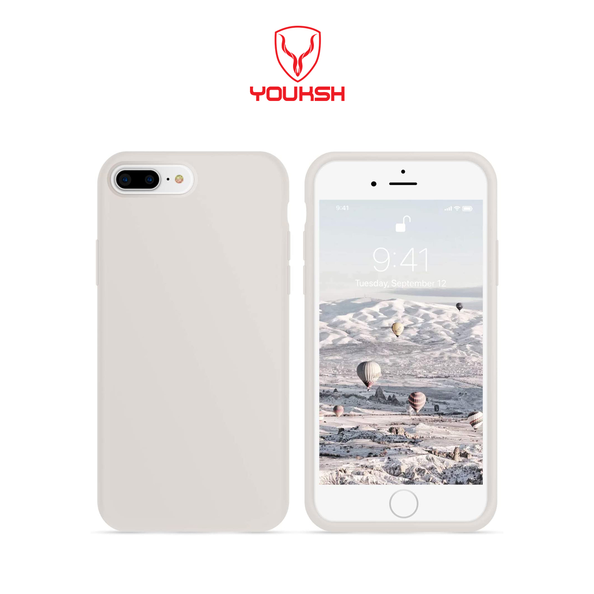 Apple iphone 7 Plus/8 Plus - Youksh Premium Ultra Slim Shockproof Liquid Silky Silicone Soft Rubber Comfortable Protective Case.