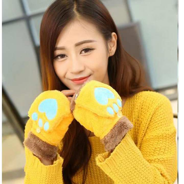 Lovely Cartoon Women Bear Cat Claw Paw Mittens Plush Female Half Finger Winter With Lid Fingerless Gloves