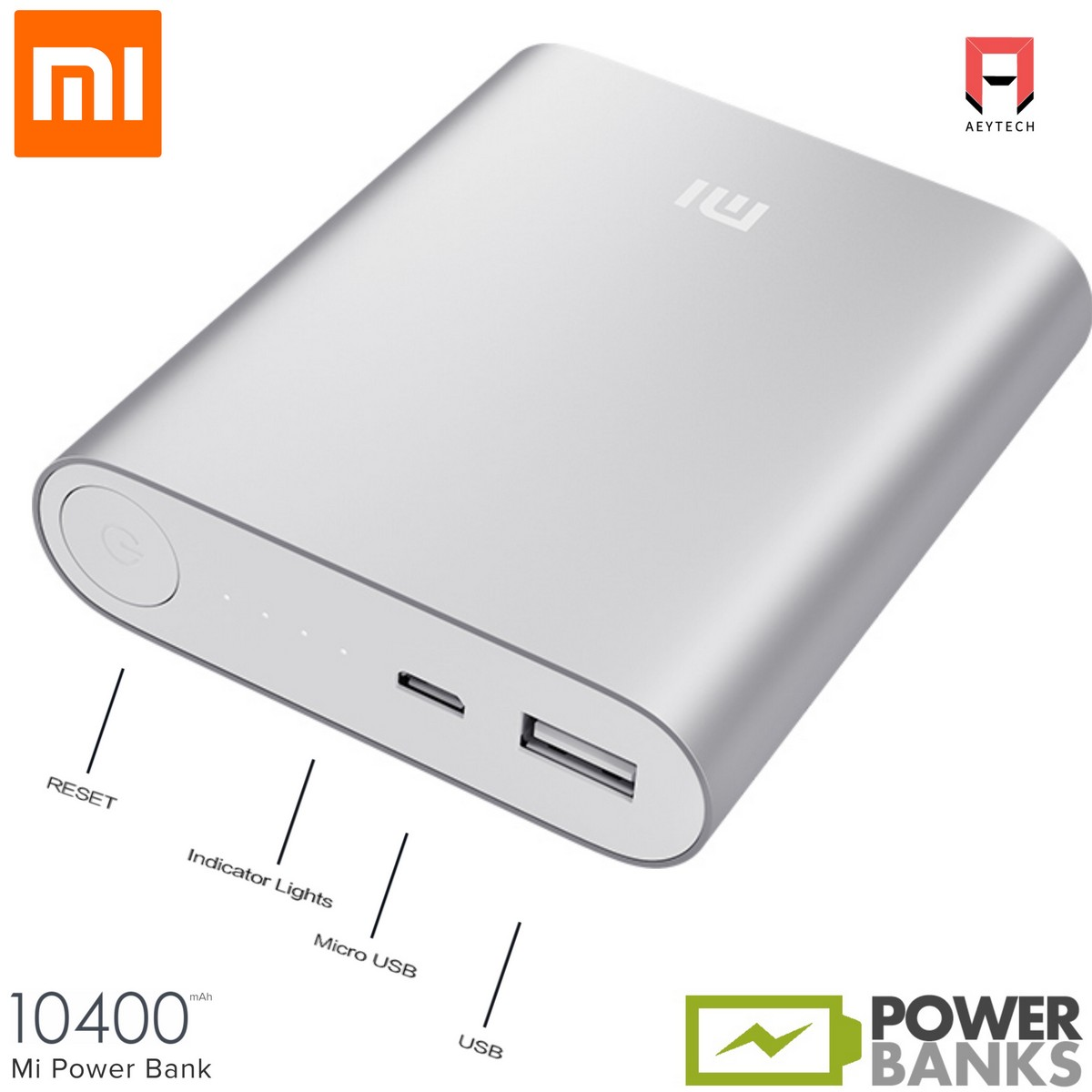 Aeytech Mi Xiaomi 10400mAh Power Bank ultra compact Portable Charger PowerBank DC5.1V-2.1A Android iPhone