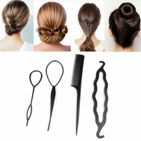 4 PC Bun Maker Hair Styling Tool Women Hair