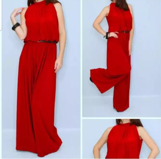 red close neck jumpsuit
