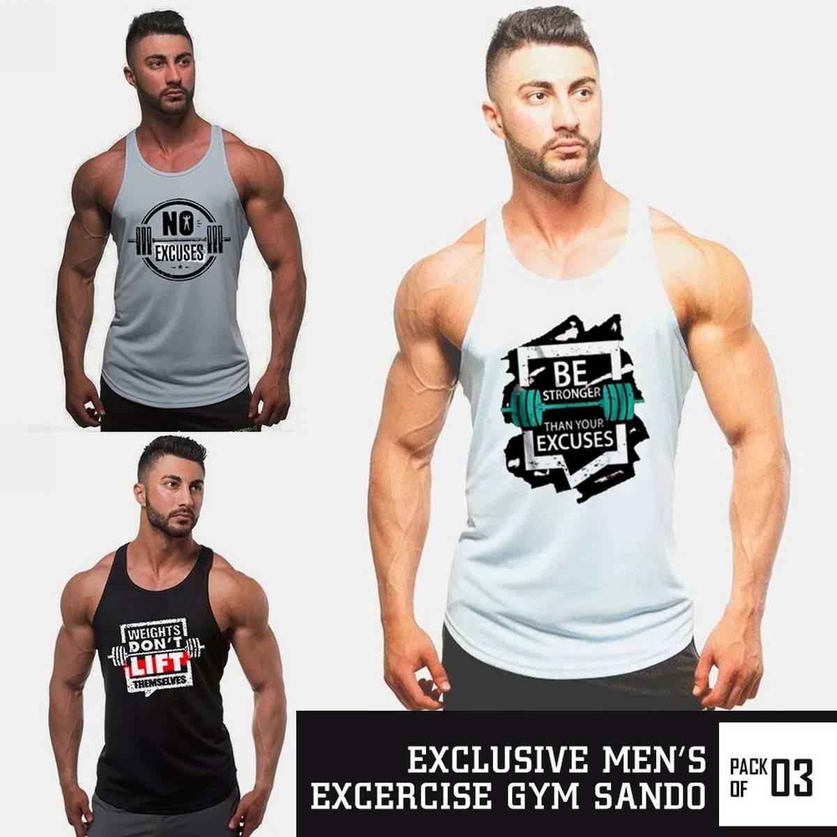 Bundle Of 3 Muscular Gym Sandos  Gym Shirts  Gym Wear  Gym Suit  Gym Sandos