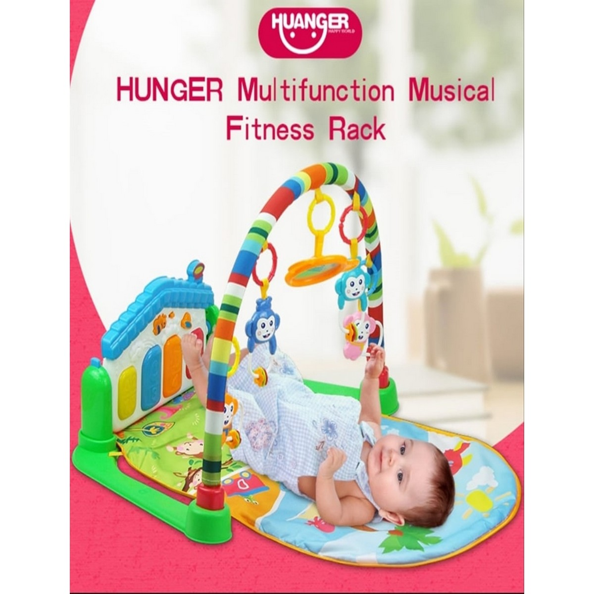 Kick and Play Huanger - 3 in 1 Newborn Baby Play Gym Piano Fitness Rack Mat