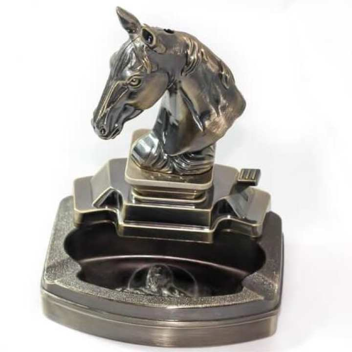 Horse Face Ashtray and Lighter - 2 in 1
