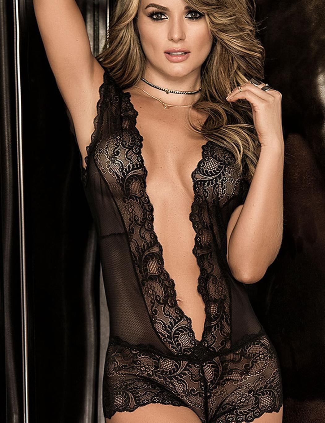 3cc9f55802ce Product details of Women V-Neck Sleeveless Floral See Through Lingerie  Sleepwear Bodysuits
