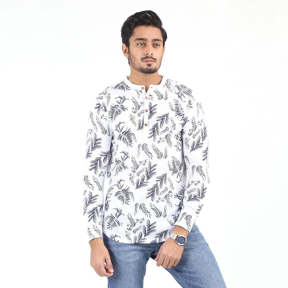 Paradise Zone Full Sleeves Allover Printed Kurti Tshirts For Men