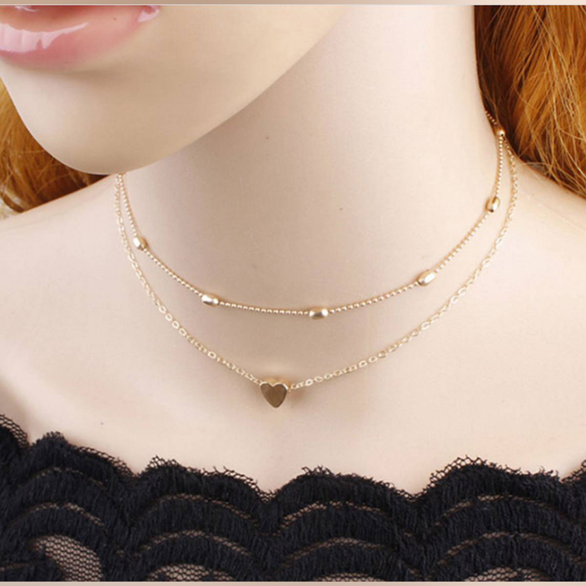 Beautiful Double Layer Heart And Bead Necklace For Girls And Womens