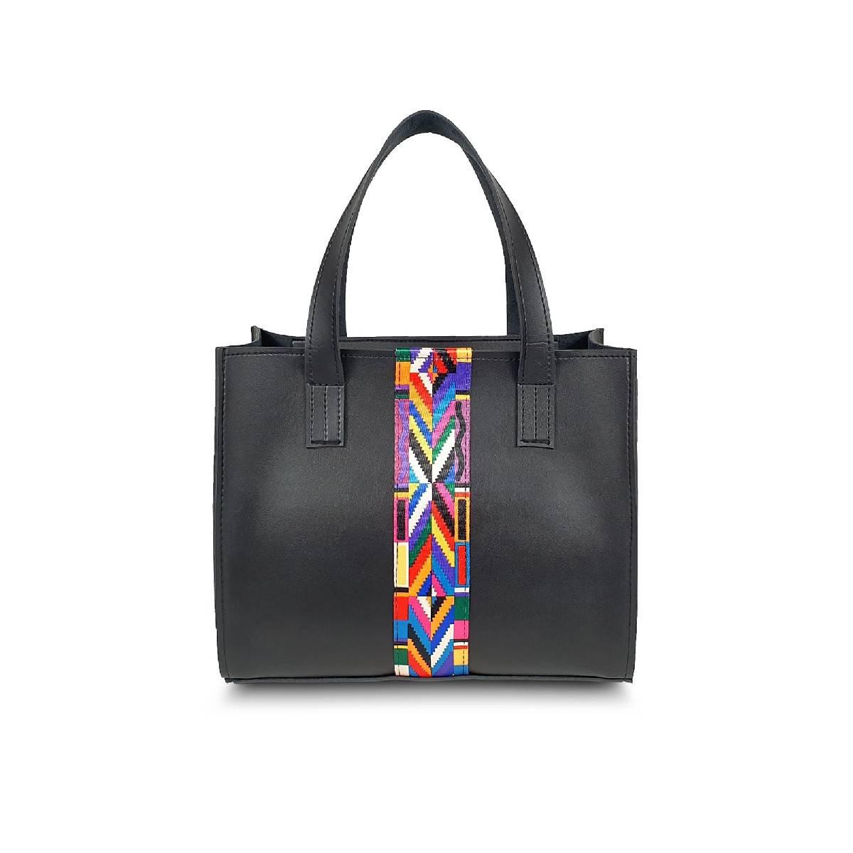 Astore Black Double Compartments Vegan Leather Colorful Aztec Strip Casual Hand Bag Shoulder Bag Cross Body Bag Handle Bag