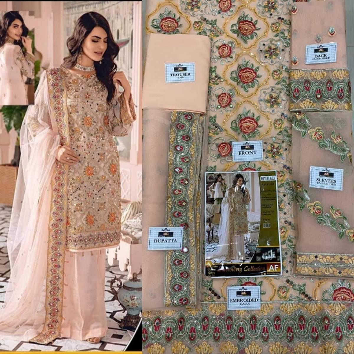 Maryam N Maria Wedding Edition Peach Organza Embroidered Dress For Women