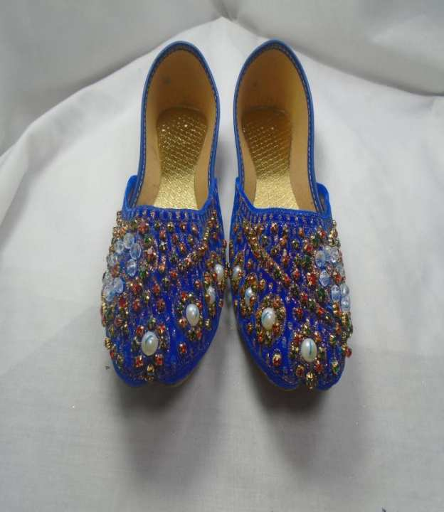 Blue Color Synthetic Fancy Khussa For Women- 237-50977