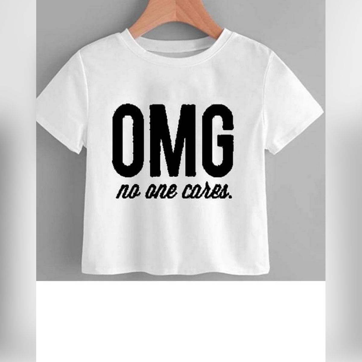 WHITE OMG CROPPED TOP FOR WOMEN