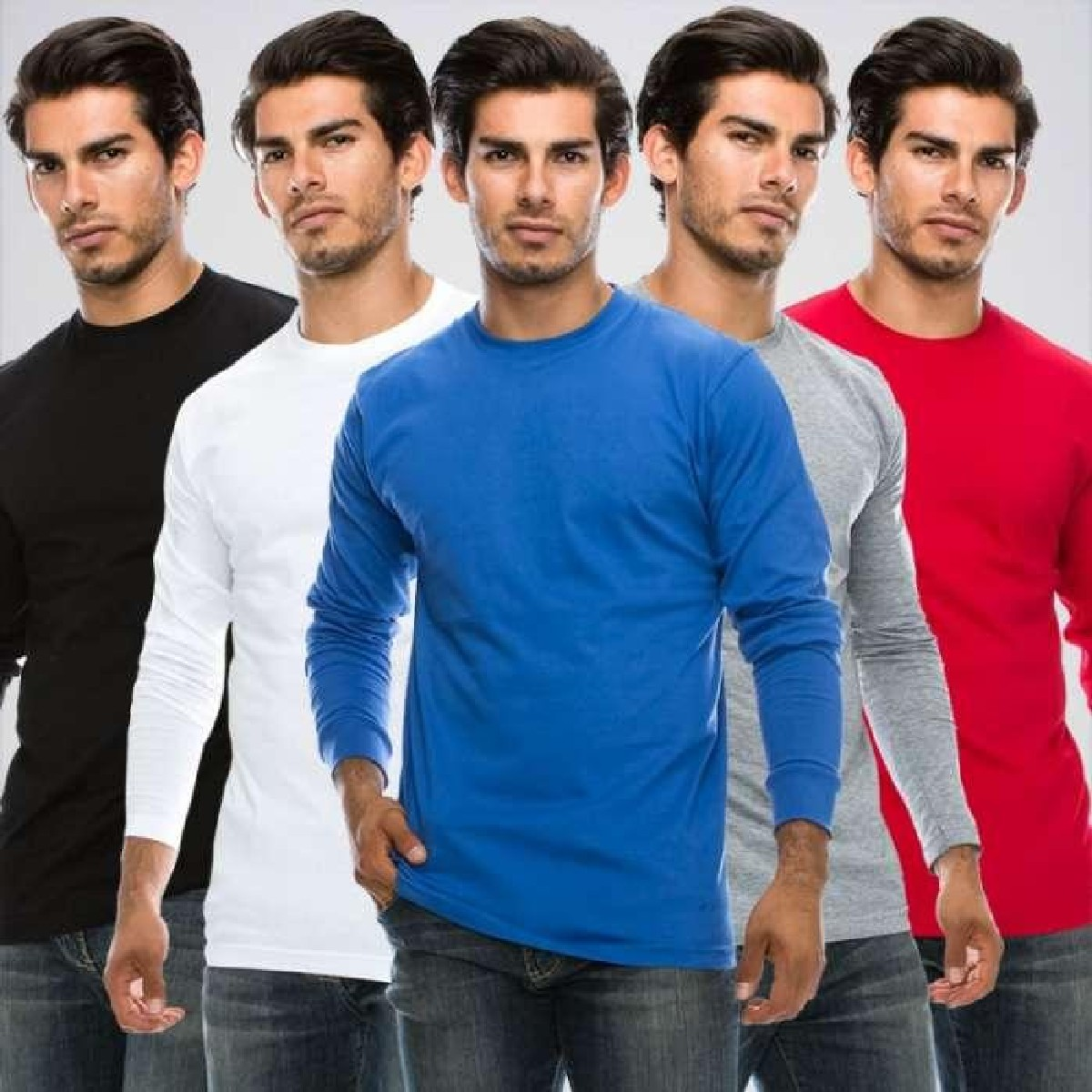 Paradise Zone Full Sleeves Plain Pack Of 5 Multicolor Tshirts For Men