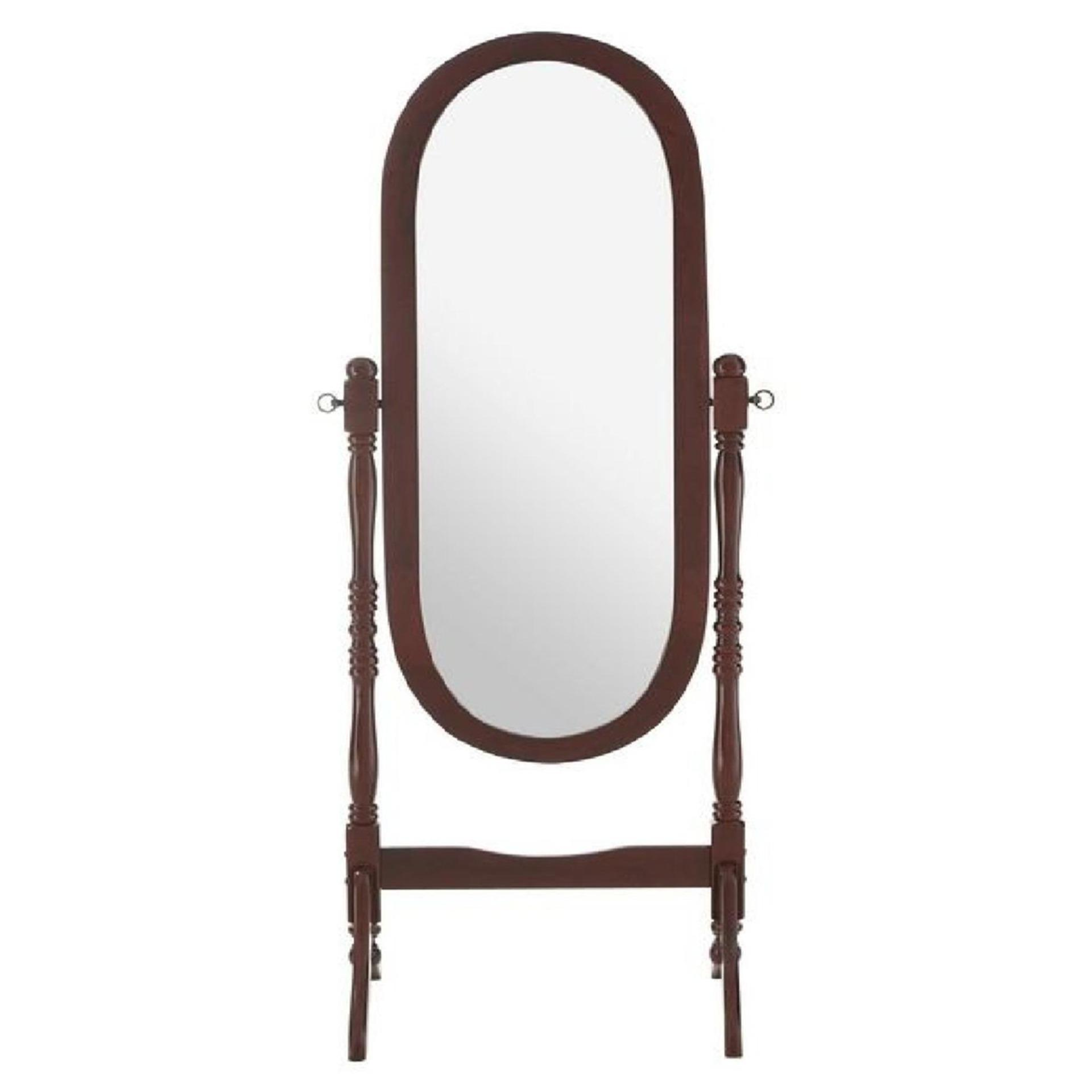 Oval Cheval Mirror, Floor Standing, Mahogany Finish Frame