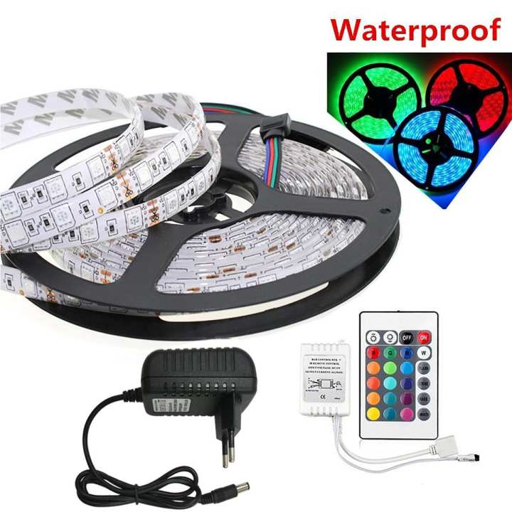 RGB Waterproof LED Strip Light 5M RGB DC 12V LED Strip With Remote Control 5A Power Adapter