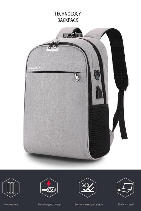 37ba5c23033 Aelicy Luminous Anti Theft Password Locks Bag Men Bag USB Charging Backpack