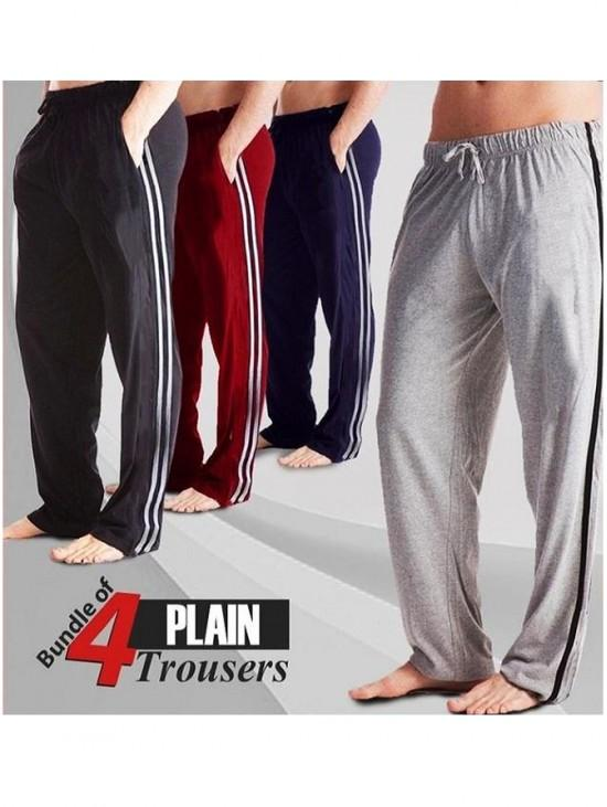 Cotton Mens Trousers men pajamas for sports exercise and casual wear with side strips and pockets Pack of 4