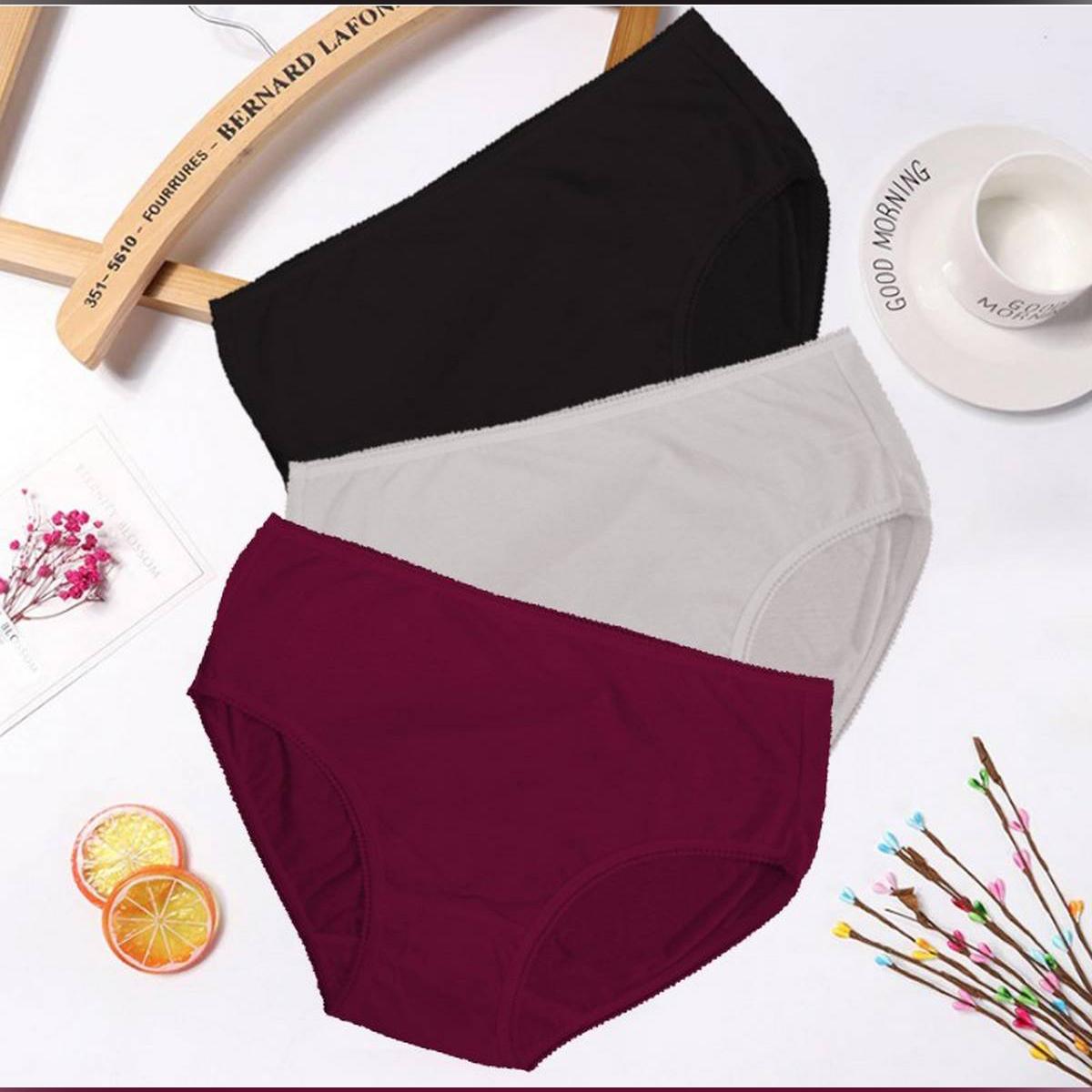 Flourish Combo Of 3 Plain 100% Cotton Panties For Women
