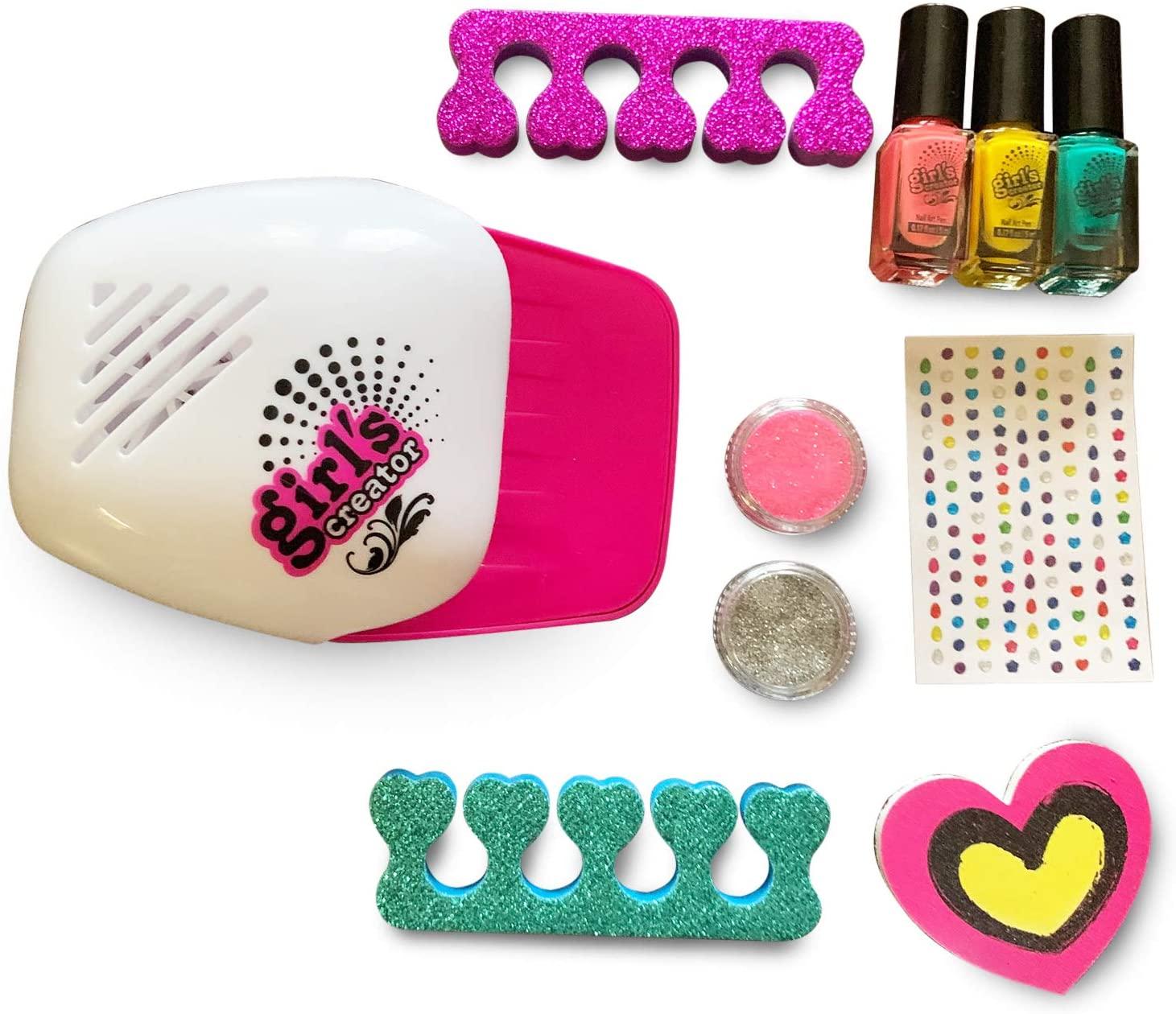 Fabulous Nail Glam Salon - Nail Polish Kit for Girls and Up with Vibrant Nail Polish and Nail Dryer - Emoji Pedicure and Manicure Kit