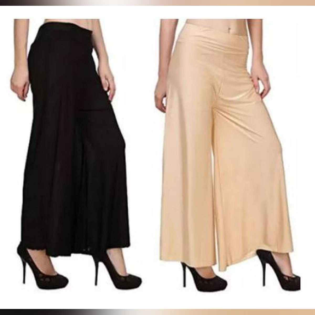 Queen Pack Of 2 Viscose Long Palazzo Pants for Women (Black-Skin)