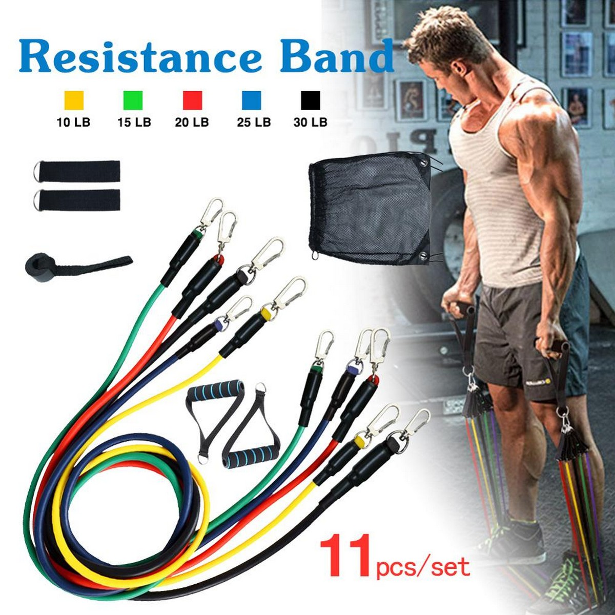 11 PCS Latex Resistance Band Set Yoga Pilates Abs Exercise Fitness Gym Workout Set With Elastic Tube, Door Anchor, Ankle Straps, And Handles For Weight Loss Or Stretch