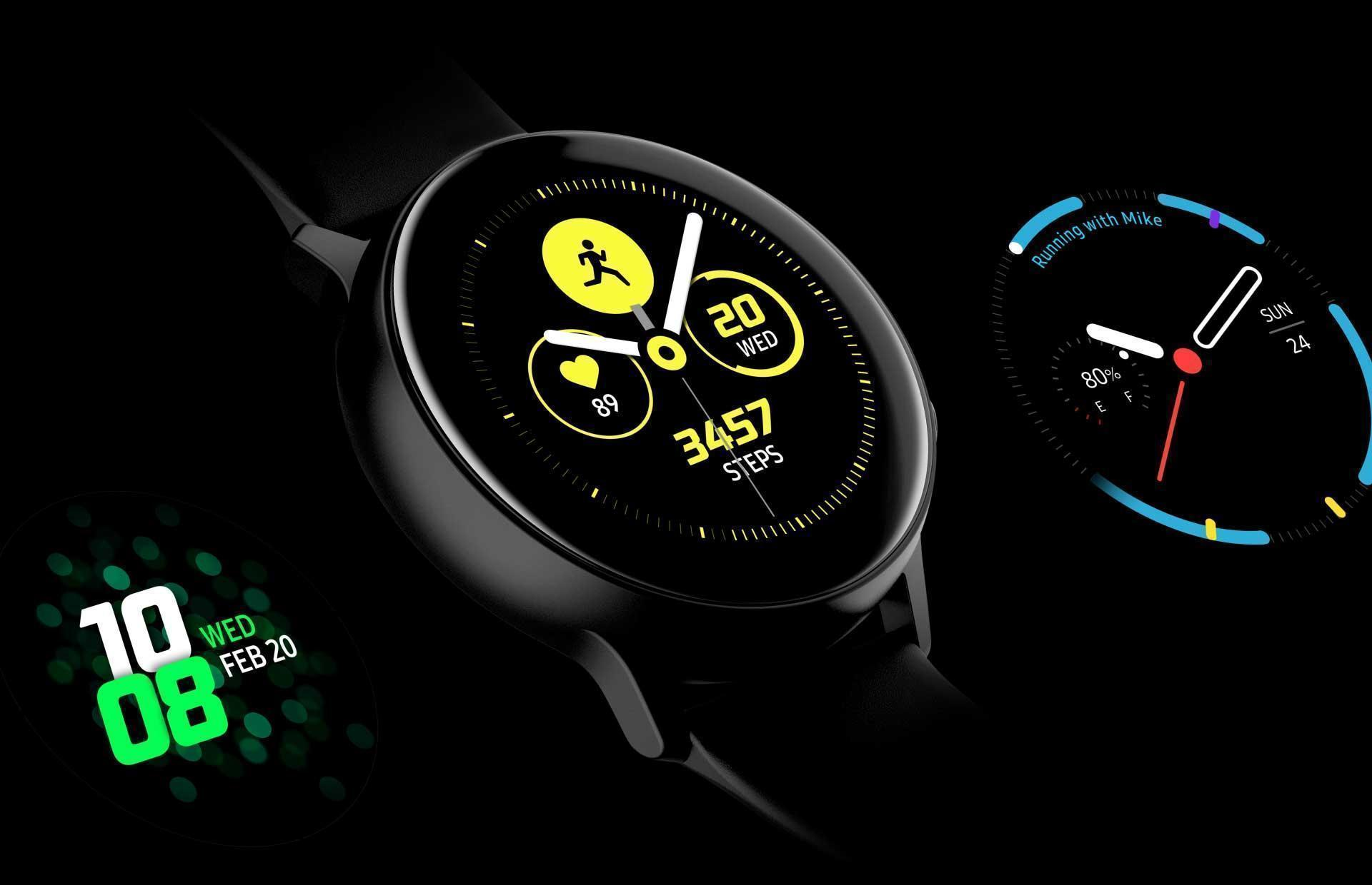 Four different designs of watch faces are exposed on the screen in The Galaxy Watch Active one by one. - face1