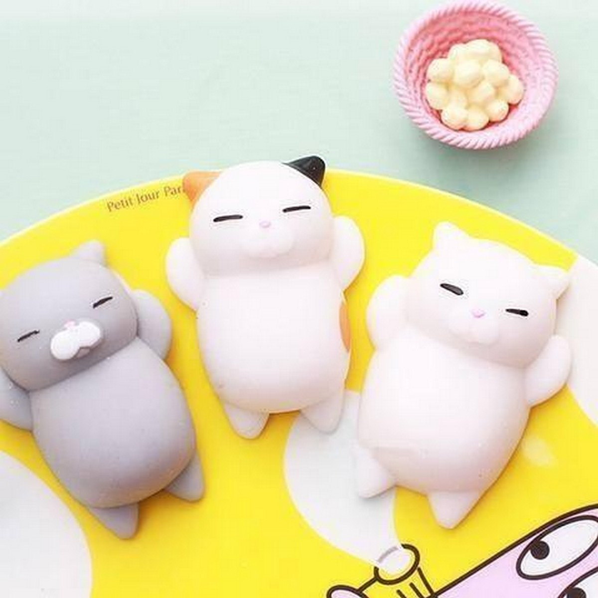 Get 6 Skinlee Cartoon Cat Squishy Toy Stress Relief Soft Mini Animal Squeeze Toy