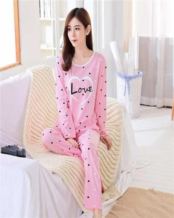 Rex Bazar - Pink Love Printed Night Suit For Women