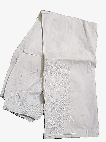 WHITE COTTON PAJAMA Embroidry Capri Export Quality