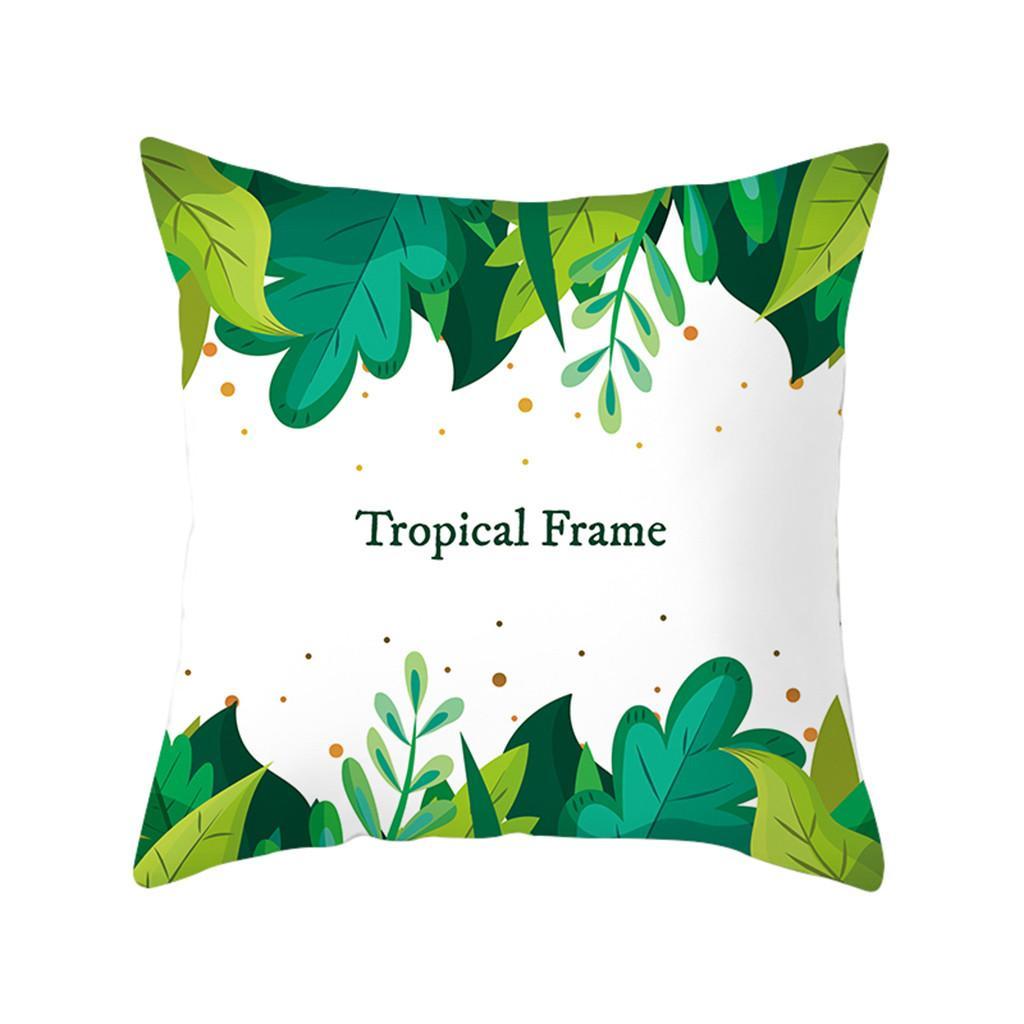 Green Leaf Printed Pillow Case Polyester Sofa Car Cushion Cover Home Decor